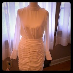 Lulus NWT white ruched/sheer open back dress, S
